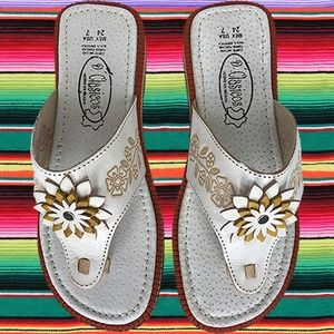WOMENS LEATHER SLIP ONS MEXICAN SANDALS